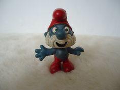 Vintage Smurfs papa smurf pvc toy figure - Peyo, no date by MetalmanEd on Etsy