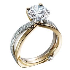 S7776VY  Ancora Two tone split shank Diamond ring.