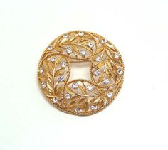 Vintage Rhinestone Wreath Brooch - Signed Emmons - Vintage Goldtone Round Domed Pin