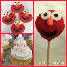 This weekend my kitchen turned in to Elmo's World! Cookies cupcakes and cake pops make  Elmo-tactic birthday treats. #sweetTdesignshouston #babys1stbirthday