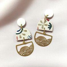 Statement Earrings, Dangle Earrings, Japanese Jewelry, Japanese Waves, Surgical Steel Earrings, Ear Cuffs, Ear Rings, Jewelry Design, Unique Jewelry