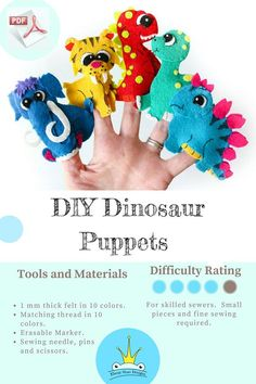 ♥ This is some dino puppet patterns for you to print. If you want finished puppets- this aint it! Watch for your link when you hit pay. Download. Print. And get sewing straight away!!! ♥ Make these sew adorable felt Dinosaur Finger Puppets with our easy to follow, pattern and a few