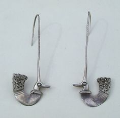 Vintage Sterling Silver Bird Earrings Hand Wrought Artisan Unusual