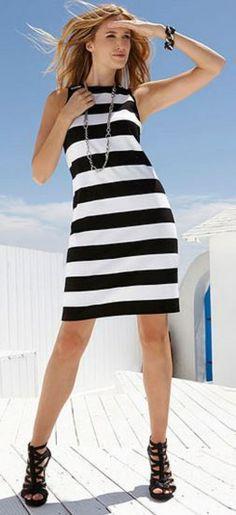 Sleeveless Black and White Stripes Exposed Zipper Dress