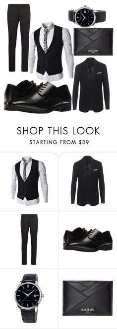 """""""smoking"""" by mypinkhighheels ❤ liked on Polyvore featuring Neil Barrett, Prada, Stacy Adams, Frédérique Constant, Balmain, men's fashion and menswear"""