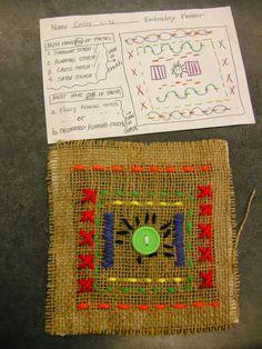 Zilker Elementary Art Class: 4th Grade Sewing Arts And Crafts For Teens, Art And Craft Videos, Art For Kids, Sewing Projects For Kids, Sewing For Kids, Weaving Projects, Art Projects, Classe D'art, 4th Grade Art