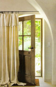 """linen drapes... did this for my front closet """"doors"""""""