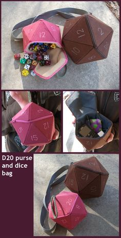 purse and dice bag prototypes by angermuffin purse and di. purse and dice bag prototypes by angermuffin purse and dice bag prototypes by angermuffin Nerd Crafts, Cute Crafts, Crafts To Do, Fabric Crafts, Sewing Crafts, Sewing Projects, Dice Bag, Plush Pattern, Creation Couture