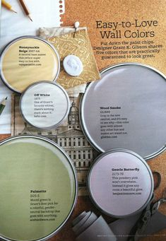 BHG Easy-to-Love Wall Colors- I like wood smoke for the master and gentle butterfly for E's room Interior Paint Colors, Paint Colors For Home, Yellow Paint Colors, Wall Colors, House Colors, Eye Colors, Soft Colors, Paint Color Schemes, Love Wall