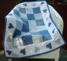 Patchwork and Heart Cot Quilt by HandmadeByMargo on Etsy, £25.00