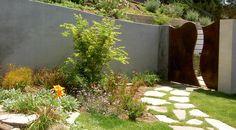 Metal gate, eclectic plantings, Hollywood Hills--Erin's Gardens Landscape Design