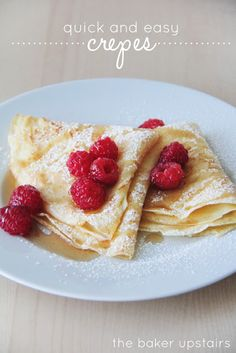 Quick and easy crepes from The Baker Upstairs. Super delicious, and surprisingly easy to make! A beautiful and elegant treat for breakfast, brunch, or any occasion! www.thebakerupstairs.com
