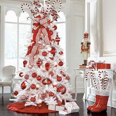 Red/White Christmas tree and decor White Christmas Tree With Red, Beautiful Christmas Trees, Christmas Tree Themes, Noel Christmas, All Things Christmas, Candy Cane Christmas Tree, Peppermint Christmas Decorations, Mickey Mouse Christmas Tree, Flocked Christmas Trees Decorated