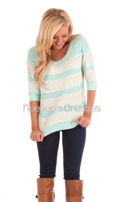 Cozy Mint Sweater with Ivory Lace | Affordable Modest Clothes | Trendy Modest Clothing