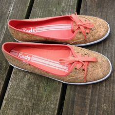 Keds Cork Teacup Laceup Flats with Coral Trim These are in like new condition! Perfect for spring and summer!! I bought these online and I was sent a size too small  Box comes with these. Price is a tad negotiable--but due to how much I spent for them, and the fact that Posh takes 20% commission, I only have a little wiggle room! keds Shoes Flats & Loafers