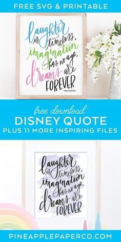 FREE Disney Quote SVG for Cricut plus a Disney Quote Printable and 11 MORE Inspiring Quote SVG Files at Pineapple Paper Co. #cricut #free svg #disneyquote #inspiringquote #inspirationalquote #svgfiles #disneyprintable Citation Walt Disney, Walt Disney Quotes, Love Me Quotes, Sign Quotes, Class Art Projects, Diy Projects, Project Ideas, Pineapple Quotes, Monogrammed Stationery