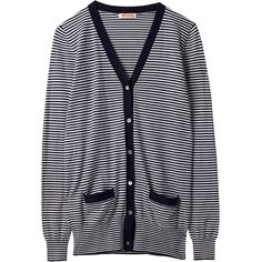 Organic by John Patrick Stripe Cardigan ($248) ❤ liked on Polyvore featuring tops, cardigans, sweaters, jackets, outerwear, blue long sleeve top, stripe top, blue top, striped cardigan and cardigan top