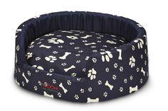 SNOOZA BUDDY PET BED - NAVY PAWS'N'BONES PRINT