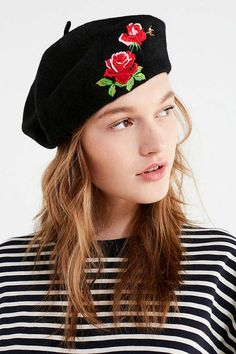 Slide View: 1: Embroidered Wool Beret