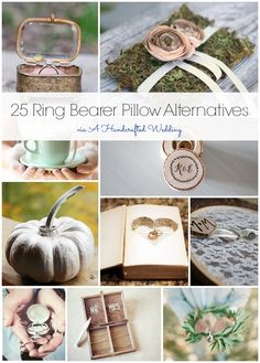 25 Ring Bearer Pillow Alternatives {ahandcraftedwedding.com} #DIY #wedding #ringbearer   I'm actually borrowing an old silver mesh jewelry box from my mother-in-law to be for the rings... I was doing something different for my flower girl so I wanted to do something different for my ring bearer too... love these ideas!