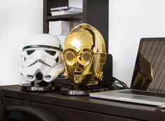 star wars bluetooth speakers amplify sound through C-3PO + stormtrooper heads