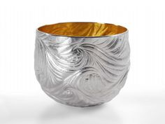 Miriam Hanid- Japanese Waves Tumbler - Fine silver, Hand raised and chased