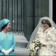 Princess Diana with the queen on her wedding day. Enjoy RUSHWORLD boards, DIANA PRINCESS OF WALES EXTENSIVE PHOTO ARCHIVE, UNPREDICTABLE WOMEN HAUTE COUTURE and WEDDING GOWN HOUND.  Follow RUSHWORLD! We're on the hunt for everything you'll love! New Diana photos weekly, researched and accurate. #PrincessDiana #LadyDiana #CandidPrincessDiana #RarePrincessDianaPhotos #PrivatePrincessDiana