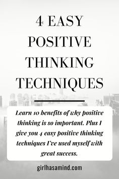 Learn 10 benefits of why positive thinking is so important. Plus I give you 4 easy positive thinking techniques I've used myself with great success. Think Happy Thoughts, Development Quotes, How To Gain Confidence, Positive Mindset, Best Self, Self Esteem, Self Improvement, Benefit, Things To Think About