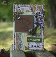 Scrap card with violets and trot. Corrugation, crystals, printed text. Postcard in brown and beige tones with accents of green.