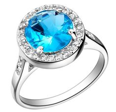 Sterling Silver Sapphire Blue Rings Halo Round Stone Rings for Women