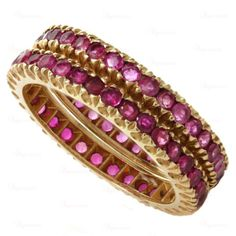 Estate 14 Rose Gold Natural Ruby Eternity Ring Guards Bands 2/Set