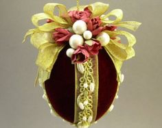 """McCray's Rose Garden"""" by Towers and Turrets - Burgundy Wine Red Velvet Fabric Egg Christmas Ornament with Parchment Paper Roses - Victorian Inspired, Handmade Towers and Turrets Victorian Christmas Ornaments, Christmas Baubles, Christmas Crafts, Christmas Ideas, Beaded Ornaments, Xmas Ornaments, Coconut Decoration, Egg Art, Burgundy Wine"""