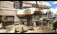 Halo 2 Anniversary environment by Josh Kao Post Apocalypse, Portrait Illustration, Art Illustrations, Fashion Illustrations, Sci Fi Rpg, Warrior Drawing, Aztec Warrior, Sci Fi Environment, 2nd Anniversary