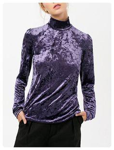eab068d8d8 Long Sleeve High Collar Velvet Top (Purple) Hipszter Outfitek, Bomberdzseki