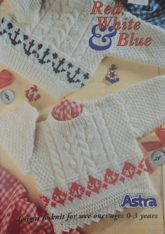 Child's Knitting Pattern/ Patons Red White & Blue/ Size 0-36 months/sweater,leggings,hat,mittens,pullover,cardigan,baby,toddler,boy,girl by RedWickerBasket on Etsy