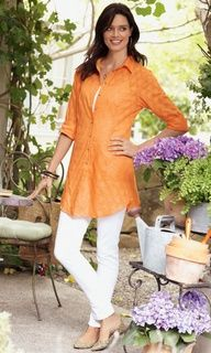 Great site for older womens fashion. Love this top- textured, long to cover, and light enough for Texas summer.