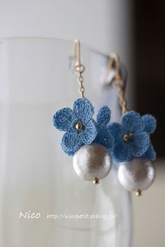nico rev crochet earrings no patterns just inspiration - thread crochet and bead flower earring Crochet Earrings Pattern, Crochet Jewelry Patterns, Crochet Flower Patterns, Crochet Accessories, Crochet Flowers, Knitting Patterns, Thread Crochet, Crochet Crafts, Crochet Projects