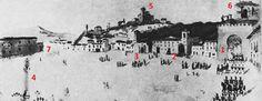 Así era el Triunfo en 1830. La Puerta Elvira (1) seguía siendo la entrada natural a la ciudad, como desde el siglo XI. El convento de la Merced (2) sin nada que enturbiase su arquitectura, en contacto directo con la calle. A su lado, San Ildefonso (3) y el Monumento a la Inmaculada (4) presidiendo todo el espacio, antes de su mudanza definitiva. San Cristóbal ayer, hoy y esperemos que siempre, coronándolo todo (5) y un Albaicín más despoblado…