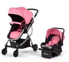 Baby Strollers Urbini Omni 3-in-1 Reversible Toddlers Stroller Car Seat pink
