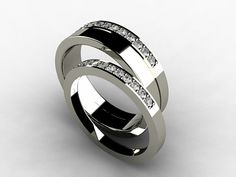 Diamond wedding band set with thin and wide rings, made from titanium by TorkkeliJewellery, $1906.00
