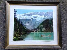 Large Framed Vintage Don Harmon Photograph Lake Louise Canadian Rockies Canoe Vintage Art Prints, Vintage Frames, Montreal Canada, Travel Oklahoma, Canadian Rockies, New York Travel, Alberta Canada, Newfoundland, Canada Travel