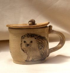 Stoneware Mug, Hand Painted  Hedgehogs on a Mug with place for spoon in the handle with little heart dish