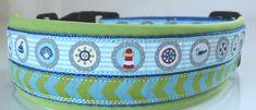 Handgemachtes Halsband mit maritimem Motiv für mittelgroße Hunde, gepolstert mit Softshell
