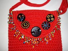 Mini Crossbody Red Purse Beaded Fringe by thebuttonlady3 on Etsy, $14.00