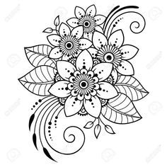Mehndi flower pattern for henna drawing and tattoo decoration in ethnic oriental indian style kubrick ho s delicate tattoos for women