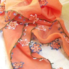 Turkish OYA Lace - Otantic scarf -Pale orange by DaisyCappadocia on Etsy****** Lace Knitting, Crochet Lace, Crochet Hooks, Crochet Wraps, Pale Orange, Needle Lace, Single Crochet, Hair Pins, Etsy