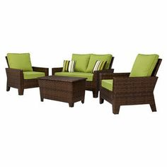 Belmont 4-Piece Brown Wicker Patio Thick Woven Conversation Furniture Set.Opens in a new window