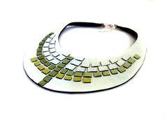 Mosaic bib necklace Leather necklace LEather jewelry by julishland, $26.00