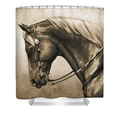Horse Shower Curtain Featuring The Painting Western In Sepia By Crista Forest