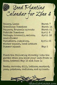 Southcentral Alaska Seed Planting Calendar Zone 4 - IdlewildAlaska Free garden calendar!